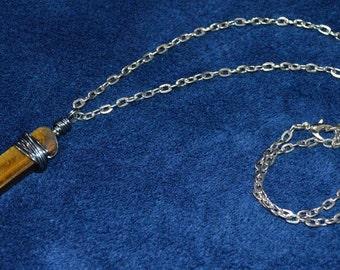 Tiger Eye Necklace . Reiki Healing Tiger Eye Necklace . Healing Tiger Eye Necklace . Root Chakra Necklace . Wire Wrapped Tiger Eye