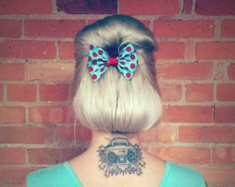 Rockabilly Hair Accessories Cherry Red Polka Dot Hair Bow