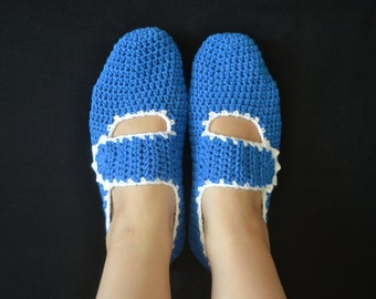 Cotton Slippers in Royal Blue with White Trimmings, Crochet House Shoes, Home Shoes, Women Accessories