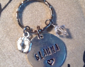 Glamma Key Chain ~ Baby Announcement Gift ~ First Time Grandma Key Ring ~ Glamma To Be Keychain Gift ~ Glamma Gift