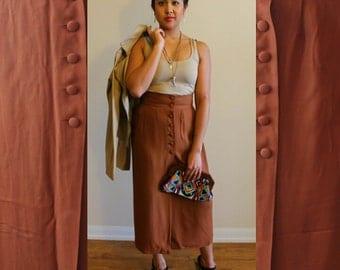 80s Paradox Collection Front Button Maxi Skirt Size Medium