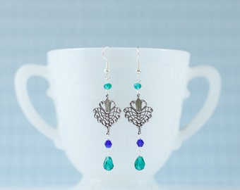 Art Nouveau Style Earrings with Cobalt Blue and Teal Crystals