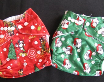 Adjustable Snap Reusable Pocket Cloth Diaper Covers with 2 free inserts Christmas / Holiday