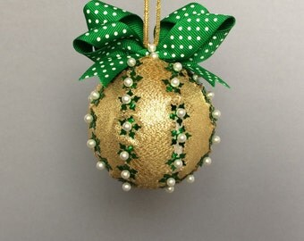Gold Ribbon Wrapped Sequined Christmas Ornament