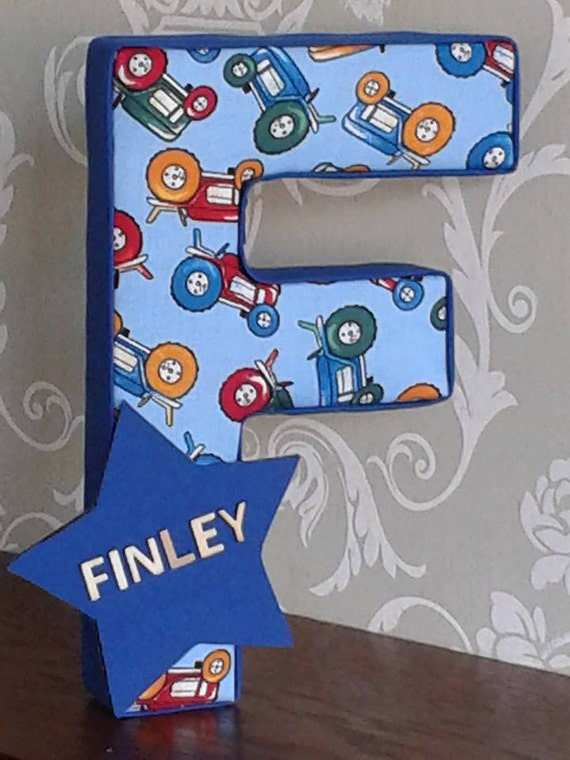 Tractors boys blue nursery bedroom decor personalised door for Baby boy door decoration