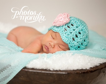 Baby Girl Hat, Ready to Ship, Crochet Newborn Hat, Baby Girl Beanie, Newborn Baby Hat, Newborn Photo Prop, Baby Newborn Hat, Pink and White