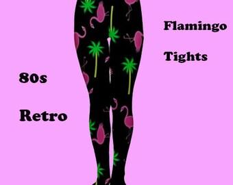 flamingo tights, tights, fashion, 80's, 80's pattern, fun, flamingo, retro, vintage, 80's style