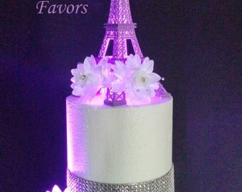 10 Inch Purple Metal Eiffel Tower Paris Theme Weding Cake Topper with LED Light