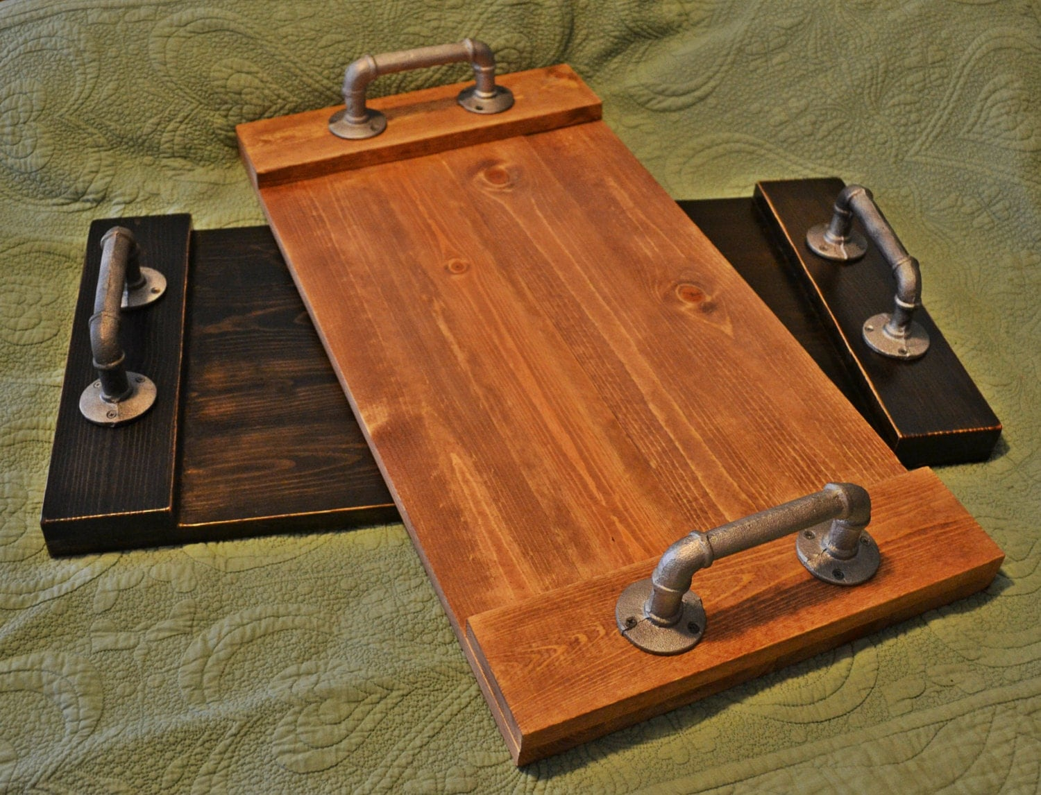 Pipe Serving Tray Rustic Wood Tray Wooden By Ellamurphydesigns