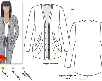 Simone Knit Cardi - Sizes 10, 12, 14 - Women's drape pocket cardigan PDF Sewing Pattern by Style Arc - Sewing Project - Digital Pattern