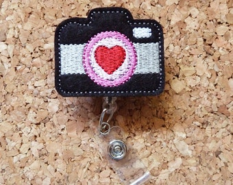 CAMERA Badge Reel | Photography Badge Reel | FELT Badge Reel |  Retractable ID Name Holder | Nurse Badge |  Teacher Gift | 270