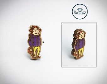 Monkey jewelry, wooden monkey brooch, wooden monkey necklace, monkey badge, animal jewelry