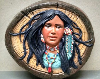 SALEIndian Maiden--Native American Indian Figurine--Heirloom Quality--Hand-painted Ceramic--Home Decor--Native American Art