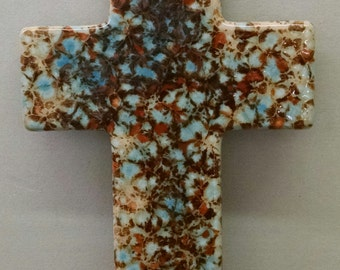 "10"" Mocha Marble Cross--Hand-Painted--Glazed Fired--Ceramic Bisque--Home-Patio-Garden Decor--Seasonal-Year Round Usage"