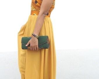 SALE:Ankara and Chiffon Bird's Eye Dress
