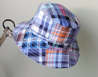 Sun Hat - Bucket Hat - Madras Plaid - Reversible - Child