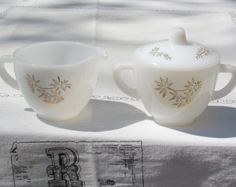 Federal Milk Glass Creamer and Sugar Bowl with Lid, Gold Bamboo Leaves