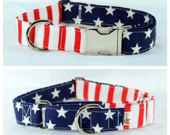 Glory American Flag 4th of July Independence Day Dog Collar - LARGE stars, Personalized, Engraved, ID Buckle