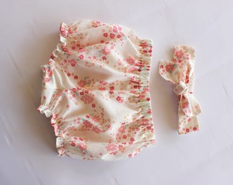 Organic Baby, Girl Clothing, Baby Bloomers, Baby Girl Bloomer Set, Baby Headband,Baby Girl Headband,Kids Clothing,Coming Home,Newborn Outfit