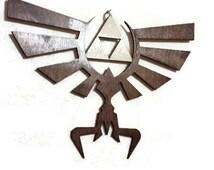 "Triforce, Zelda Hyrul Crest - WALL ART -- laser cut wood - zelda (12"" X 8"")"