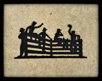 Cowboys on a Fence Metal Wall Art