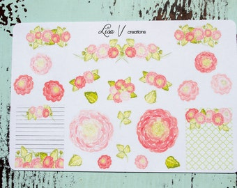 Roses Watercolor Flower (Ranunculus) stickers for your planner or calendar!