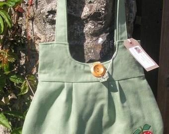 Handmade Shoulder bag - soft green with appliqued apples