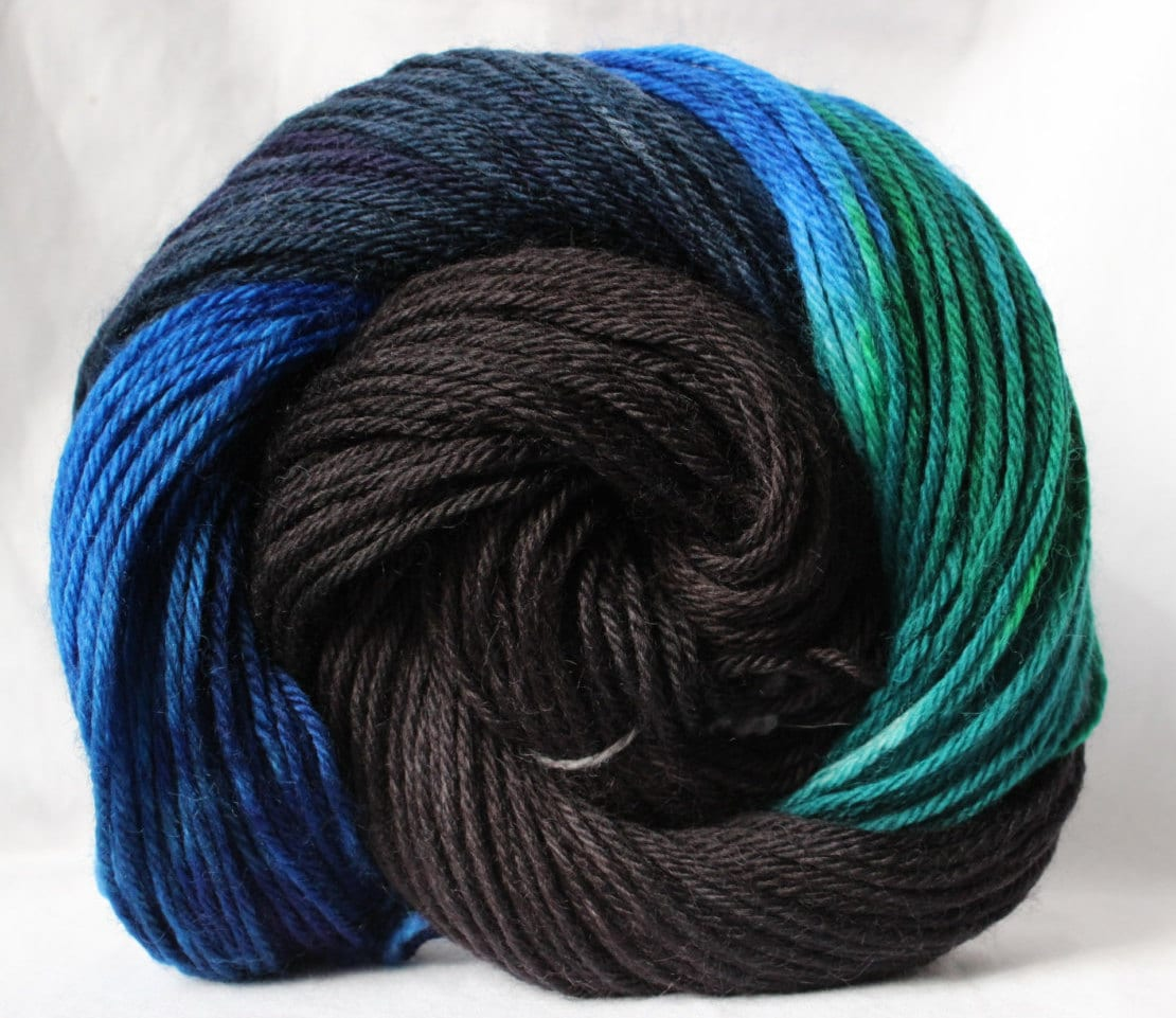 Hand dyed yarn Black / Green / Blue variegated by SMAKSuperFibers