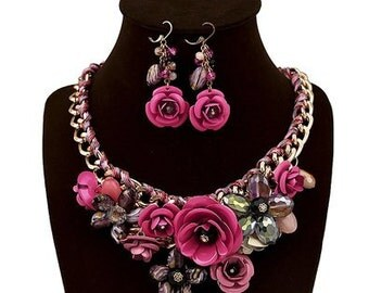 Fucshia Flower Cluster Statement Necklace  Set - Hot Pink  Statement Necklace - Vintage Flower Necklace Set