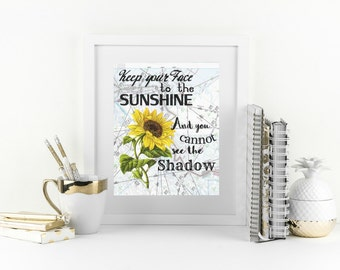 New Years Resolution Quote, Sunflower Wall Decor, Motivational Print, Cute  Office Decor, Part 44