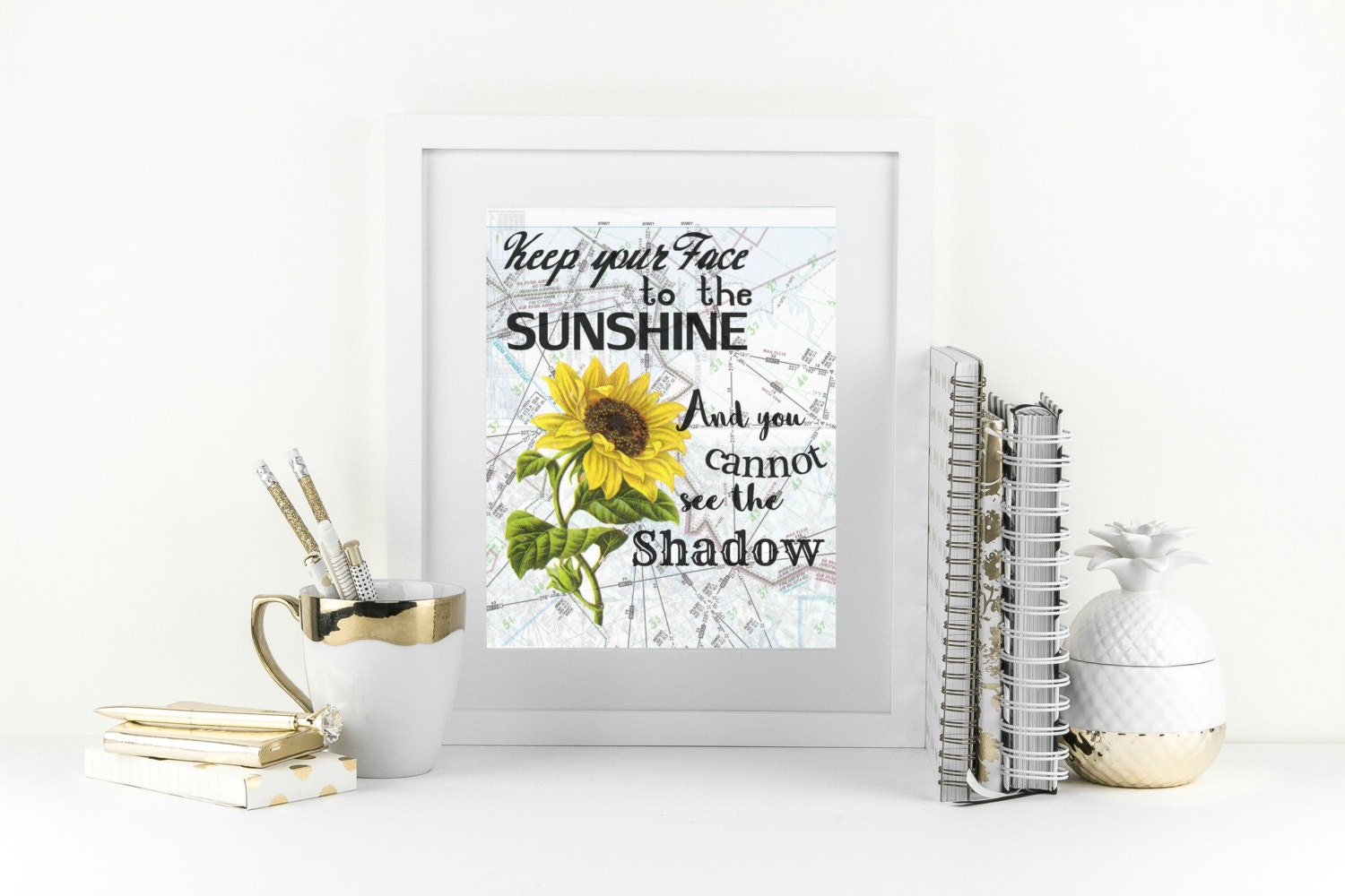 New years resolution quote sunflower wall decor motivational - Magnificent new year office decoration ...