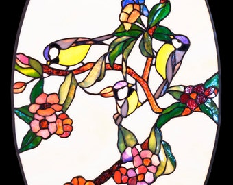 Stained Glass Panel, Stained Glass Window, Window Hangings, Window Panel,  Stained Glass Insert, Stained Glass Ornaments, Bird Decor