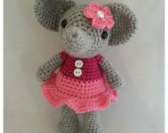 Hand Made Crochet Elephant Plushie Doll