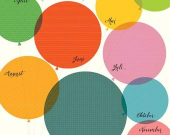 Birthday calendar» balloons»