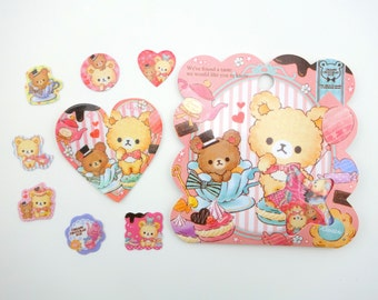 50 Kawaii Japanese teddy bear tea party sticker flakes - cute fuffly bears - French Macarons - tea cup - cookies - hearts - cupcakes sweets