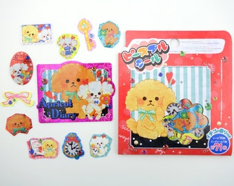 71 Japanese kawaii puppy lightly scented sticker flakes - cute fluffy poodle dogs - fuzzy dog - puppies - shimmer - glitter - keys and bows