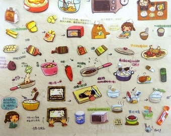 Cute cooking and baking paper stickers - kawaii girl chef - making sushi - lunch sandwiches - teddy bear - condiments - egg tarts - coffee