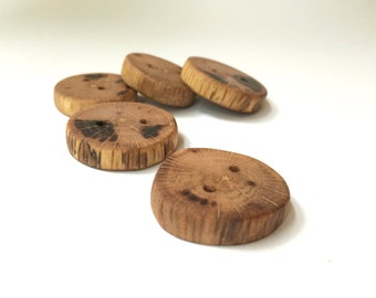 Chunky Oak Buttons - Set of 4 - Small - Handmade
