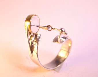 TESLA magnetic ring 925 SILVER RING-001 silver and bronze shiny.