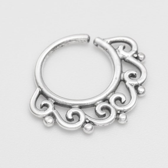 Oxidized silver tribal Septum Ring for pierced nose. septum piercing. silver septum ring. tribal septum ring. septum jewelry. nose ring.