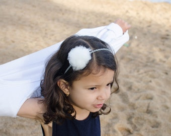 Striped headband in white tulle Pompom