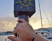 FREE SHIPPING - Black Macrame safety pin men's bracelet - Black macrame man bracelet - Black adjustable brother gift safety pin bracelet