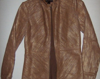 Vintage Bagatelle Size 4  Brown Leather Strips Jacket, 1990's