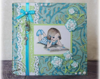 Girl's photo album, girl memory book, girl photo book, girl's book decorated patterned paper, girl scrapbook, personalized album girls