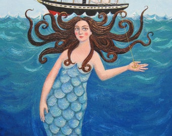 "Signed A4 Giclee Limited Edition Print ""SS Great Mermaid"" of a mermaid and Brunel's SS Great Britain ship. By Laura Robertson"