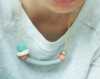Tube Necklace, Asymmetrical Geometric Statement Necklace, Colorful Fun Jewelry