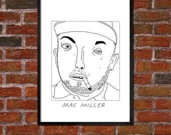 Badly Drawn Mac Miller - Hip Hop Poster