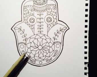 Adult Coloring Pages Hand Drawn Hamsa Judaica By