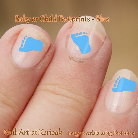 Baby blue footprint Nail Art foot baby chld Stickers