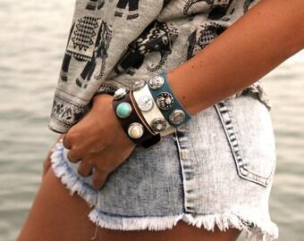 Sale! Snap Bracelet, Snap Jewelry, Leather Bracelet with 3 chunks, Snap Bracelet, Leather Bracelet, Ginger Snap Jewelry, Boho Bracelet